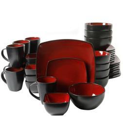 Soho Lounge Square Two Tone Red/Black Dinnerware Set, 40-Pie