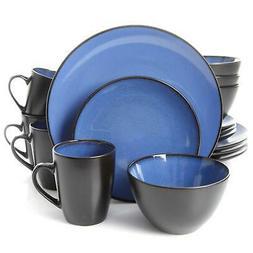 Soho Round 16 Piece Dinnerware Set, Blue/Black