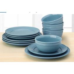 Mainstay Amelia 12-Piece Solid Color Dinnerware Set, Topas,