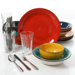 Gibson Home Color Speckle 28 Piece Dinnerware Combo Set, Ass