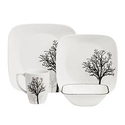 Corelle Square 16-Piece Dinnerware Set, Timber Shadows, Serv
