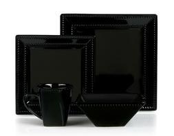 16 Piece Square Beaded Stoneware Dinnerware set by Lorren Ho