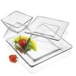 Square Clear Dinnerware Dinner Set Kitchen Glass Bowls Dishe