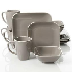 Gibson Home Square Dance 16 Piece Dinnerware Set, Gray