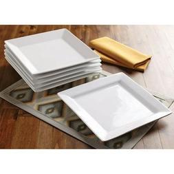 Better Homes and Gardens Square Dinner Plates, White, Set of