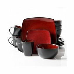 Square Dinnerware Service for 8, Plates Bowls Mugs, 32-Piece