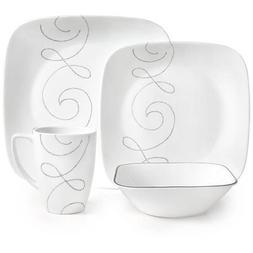 Corelle Square 16-Piece Dinnerware Set, Sophisticated Patter
