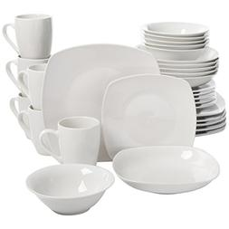 Square Dinnerware Set, 30 Piece Dish Set, White, Contemporar