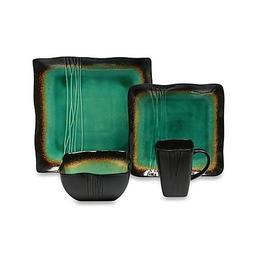 Square 16-Piece Dinnerware Set in Jade by Baum Galaxy