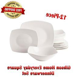 Square Dinnerware Set Dinner Dessert Plates Bowls Ceramic Wh