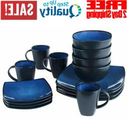 Square Dinnerware Set Dinner Plates Mugs Dishes Bowls Kitche