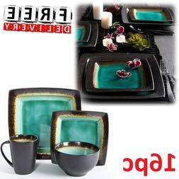 Square Dinnerware Set For 4 16Pcs Stoneware Kitchen Plates B