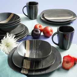 Square Dinnerware Set For 4 Stoneware Kitchen 16 pc Plates B