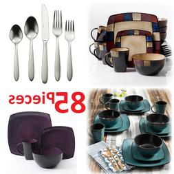 Square Dinnerware Set For 8 85Pcs Stoneware Kitchen 32Pc Pla