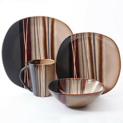 Square Dinnerware Set For 8 Stoneware Kitchen 32Pc Plates Bo