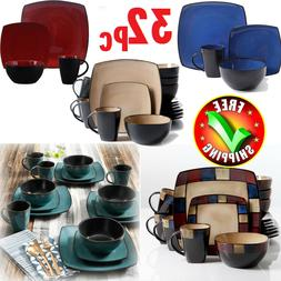 Square Dinnerware Set For 8 Stoneware Kitchen 32Pc Plates Bo