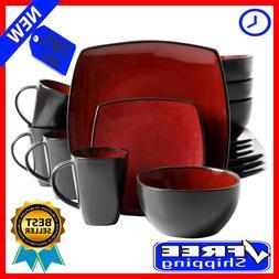 Square Dinnerware Set Plates Bowls 16 Piece Dinner Red Stone