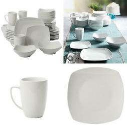 Square Dinnerware Set White Ceramic Kitchen Dish Dinner Plat