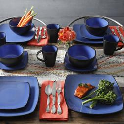 Square Dinnerware Sets Blue Stoneware 16 Piece Plates Bowls