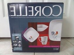 Corelle Square Dishes 16 Piece Dinnerware Set Rooster Countr