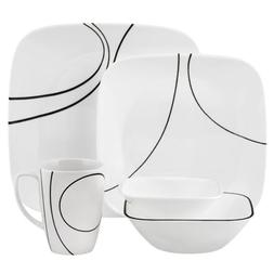 Corelle Square Simple Lines 30-Piece Dinnerware Set, Service