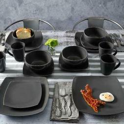 Square Stoneware Dinnerware Set - 16 piece Set Plates Bowls