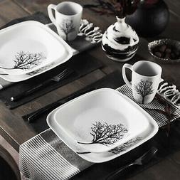 Square Timber Shadows 16-Piece Dinnerware Set Rustic Glass P