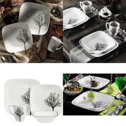 square timber shadows 16 piece dinnerware set