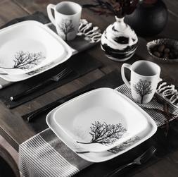 Corelle Square Timber Shadows 16-Piece Dinnerware Set Servic