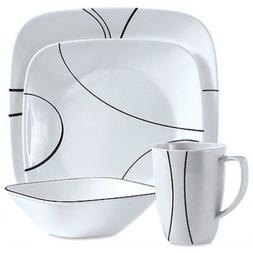 Corelle Squares Simple Lines 16-Piece Dinnerware Set