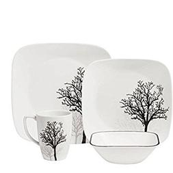 Corelle 16-Piece Squares Vines & Leaves Timber Shadows Glass