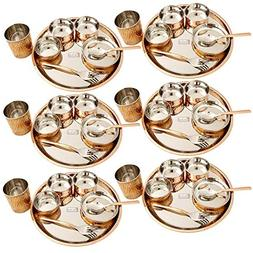 Prisha India Craft Stainless Steel Copper Dinner Thali Set o