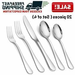 Stainless Steel Cutlery Set Dinnerware Spoon Fork Knife Flat