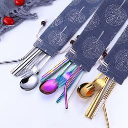 Stainless Steel Dinnerware Set Tableware Metal Straw Spoon F