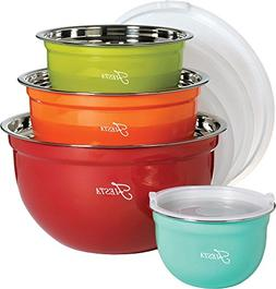 Fiesta Stainless Steel 8-Pc. Lidded Mixing Bowl Set