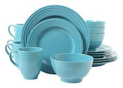 Gibson Home Stanza 16-Piece Dinnerware Set, Tiffany Blue, So