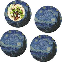 The Starry Night  Set of 4 Glass Lunch/Dinner Plate 10""