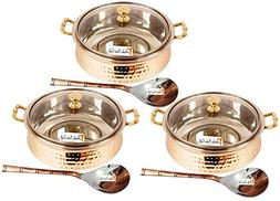 Set of 3 Prisha India Craft SMALL SIZE Steel Copper HANDI wi