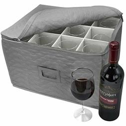Sorbus Stemware Storage - Deluxe Quilted Case with Dividers