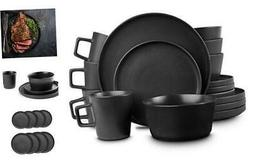 Stone Lain Coupe Dinnerware Set, Service For 4, Matte Servic