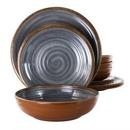 Elama Stone Oak 12 Piece Lightweight Melamine Dinnerware Set