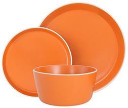 Melange Stoneware 18-Piece Dinnerware Set Moderno Orange   S