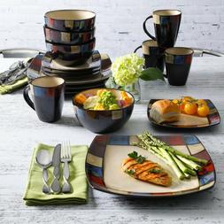 Modern Square Dinnerware,Set 16 Piece Dinner Plates Bowls Ki