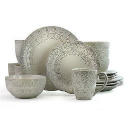 Stoneware Dinner Ware Set 16 Pc Dining Plates Dessert Bowls