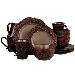 Stoneware Dinnerware Set 16 Pc Dining Plates Bowls Mugs Luxu