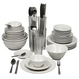 Stoneware Dinnerware Set 62 Piece Service for 6 Round Servin