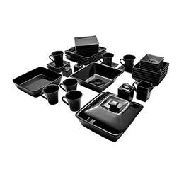 Street Nova Square Banquet 45-piece Dinnerware Set Black the