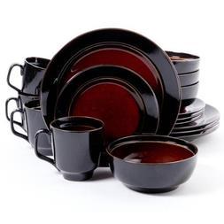 Gibson Studio Villa Mosa 16-Piece Dinnerware Set, Round Red