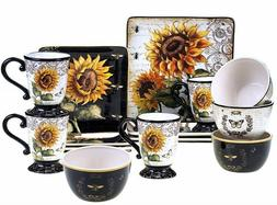 Certified International Sunflower 16-piece Square Dinnerware