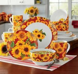 Sunflower Dinnerware Set. 16 pc Glazed Porcelain. New.